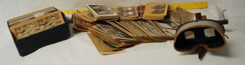Vintage Stereoscope w  lOTS of Viewer Cards  Many Subjects Included  Some Rare Content  See photos