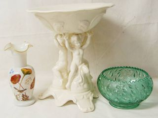 Great Decor lot   Ceramic Cherub Water Bowl Stand  Green Glass Bowl   Vase
