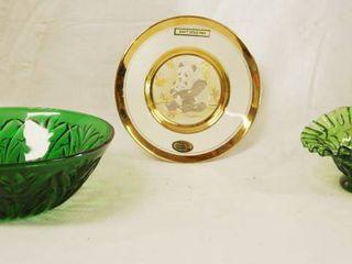 Green Glass Bowl  Glass Blown Basket   Panda Plate