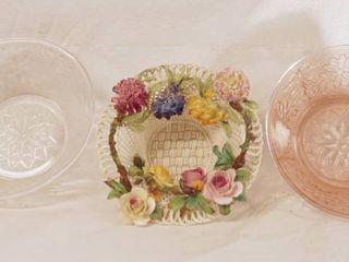 lot of 3 Gorgeous Bowls   Crown Stratfordshire  Pink Glass and More