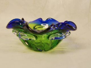 Beautiful Blue and Green Flower Bowl   So Pretty  Very RARE FIND
