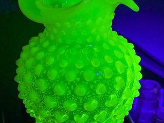 Uranium Glass Vase   Hobnail Milk Glass Design   Rare