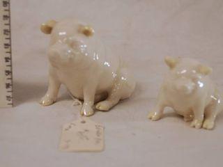 lot of 2 Miniature Beller Pigs   So Cute  GREAT FIND