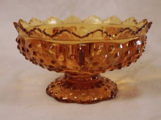 Amber Color Fenton Candy Dish   Hobnail Style