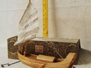 Wood Sailing Ship  Very Detailed  w  storage Box   UNIQUE