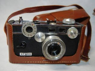 Old Vintage Camera Argus With Case leather and Caring Bag