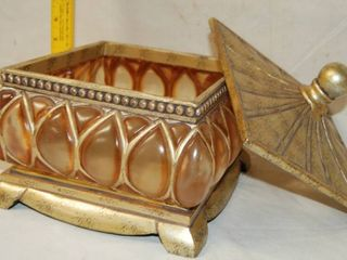 Beautiful Glass Candy Bowl with lid   Great Style   Matching Item on lot 6623