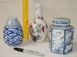 Vintage Glass Japanese Style Vases   Porcelain