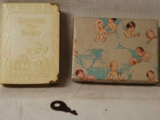 Vintage Metal Savings Bank for Baby   New in Original Box w  Key  WOW