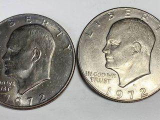 2 Eisenhower One Dollar Coins   1972 D   1972 D