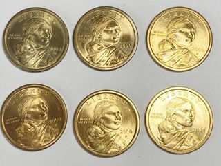 2000 Sacagawea Golden One Dollar Coins   lot of 6