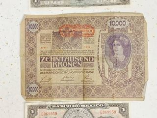 Foreign Paper Money   10 000 Zehntausend Kronen   1970 s Mexican Bills