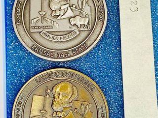 larned Centennial Commemorative Dollar Coin 1872   1972 PAWNEE PANORAMA 100   Pawnee County   lARNED KANSAS