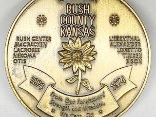 Rush County Centennial 1874 1974 Rush County Kansas   100th Year Coin