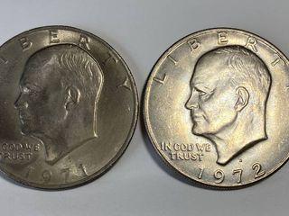 2 Eisenhower One Dollar Coins   1971 D   1972 D