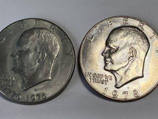2 Eisenhower One Dollar Coins   1776 1976 D   1978 D