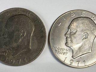 2 Eisenhower One Dollar Coins   1971 D   1971 D