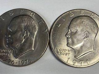 2 Eisenhower One Dollar Coins   1776 1976 D   1971 D