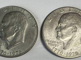 2 Eisenhower One Dollar Coins   1776 1976 D   1776 1976 D
