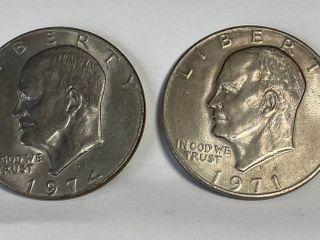 2 Eisenhower One Dollar Coins   1974 D   1971 D