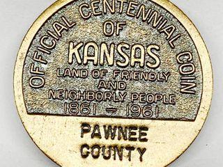 Pawnee County Centennial 1861 1961 Official Centennial Coin   Midway USA   Kansas   100th Year Coin