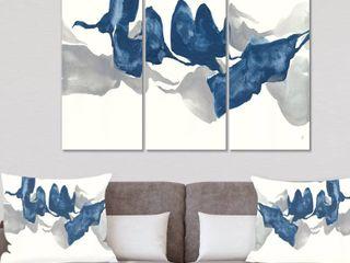 Designart  Gouache Sapphire on Gray  Modern Canvas Art   3 Panels