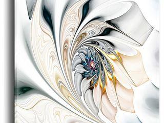 Designart  White Stained Glass Floral Art  Oversized Modern Wall Art
