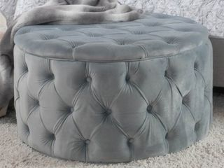 Zelfa Round Tufted Velvet Ottoman by Christopher Knight Home Retail 169 49