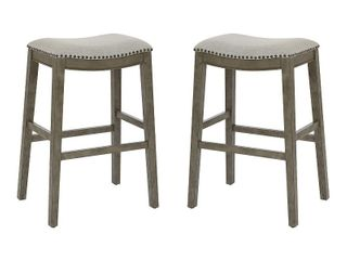 OSP Home Furnishings 30 Inch Bar Height Saddle Stools in Fabric Seat and Antique Base  2 Pack