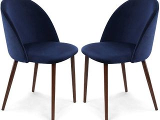 Poly and Bark Sedona Velvet Dining Chair  Set of 2  Space Blue