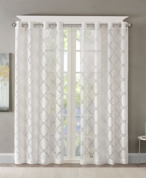 Madison Park laya Fretwork Burnout Sheer Curtain Panels   Set of 2