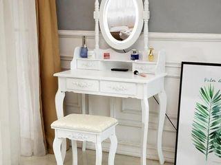 The Gray Barn Farthing lot lED Single Mirror 4 drawer Vanity Desk