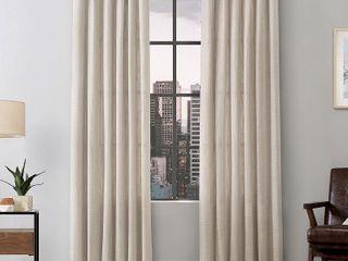 Scott living Delton Stonewashed Cotton Semi Sheer Ring Top Curtain Panels   Set of 2