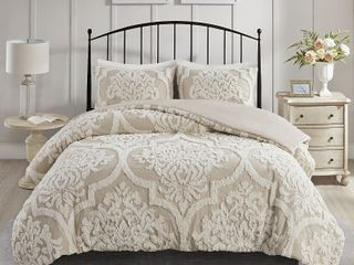 Madison Park Aeriela Tufted Cotton Chenille Damask Comforter Set   King Cali King