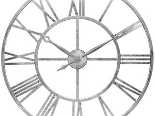 Weathered Silver Tower 30 inch Indoor Outdoor Decorative Roman Numeral Wall Clock