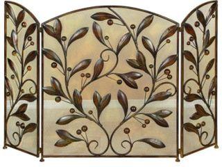 Mesh Design 3 Panel Metal Fire Screen with leaf Motif