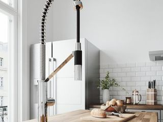 livingston Chrome Magnetic 1 Handle Single Hole Deck Mount Pull Down Kitchen Faucet and Deck Plate