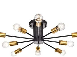 lorena Black and Metallic Gold Sputnik 10 light Industrial Chandelier