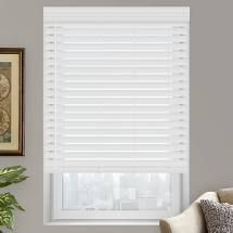 White Faux Wood Blinds   34 5x48