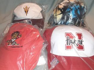 lot of 4 New in Package Baseball Caps  Velcro Back 2004 Fifa  Velcro Back Nebraska Huskers  Snapback Palm Trees  Adjustable Back Hornets