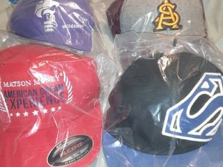 lot of 4 Baseball Caps  Matson Money Flexfit  Wildcats Adjustable Back  Superman Fitted Back  Adjustable Back AS Cap