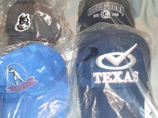 lot of 4 Baseball Caps  1 Ridder Golf Club Adjustable Back  Terriers Velcro Back  Georgetown Velcro Back  Texas Velcro Back