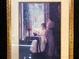 Framed Painting Depiction of Two Women Talking location Shelf P4