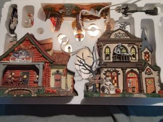 7 Piece Halloween Village Set Still in Box Tested and Works