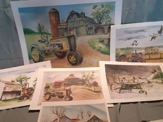 lot of 6 John Deere Tractor Paint Prints