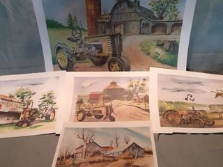 lot of 5 John Deere Paint Prints