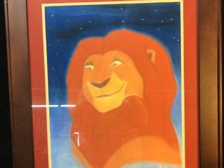 Framed Hand Drawn Chalk Medium Drawing of Disneyas Mufasa location near shelf P4