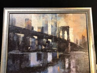 Framed Painting of Brooklyn Bridge location bear Shelf P4