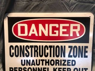 lot of 5 Danger Construction Zone Signs location Shelf 3