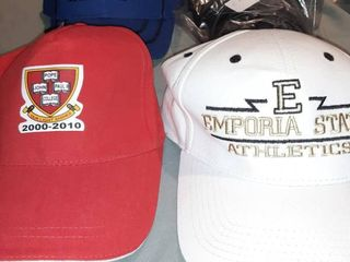 lot of 4 Baseball Caps  Velcro Back Kansas Speedway  Adjustable Back Pope John Paul II College  Velcro Back Emporia State Athletics  Fitted Back Cross Hat